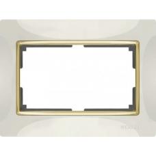 Рамка для двойной розетки (слоновая кость/золото) Werkel WL03-Frame-01-DBL-ivory/GD
