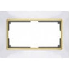 Рамка для двойной розетки (белый/золото) Werkel WL03-Frame-01-DBL-white/GD