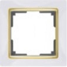 Рамка на 1 пост (белый/золото) Werkel WL03-Frame-01-white/GD