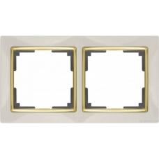 Рамка на 2 поста (слоновая кость/золото) Werkel WL03-Frame-02-ivory/GD