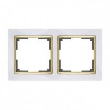 Рамка на 2 поста (белый/золото) Werkel WL03-Frame-02-white/GD