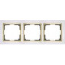 Рамка на 3 поста (белый/золото) Werkel WL03-Frame-03-white/GD