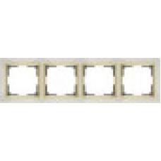 Рамка на 4 поста (слоновая кость/золото) Werkel WL03-Frame-04-ivory/GD