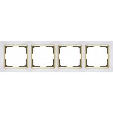 Рамка на 4 поста (белый/золото) Werkel WL03-Frame-04-white/GD