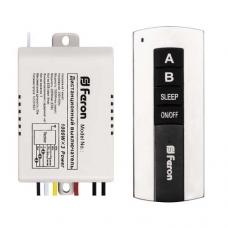 Выключатель дистанционный Feron TM75 230V 1000W 2-х канальный 30м с пультом управления, черное серебро (арт. 23344)