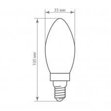 Лампа светодиодная Feron LB-58 5W 230V E14 2700K филамент C35 (арт. 25647)