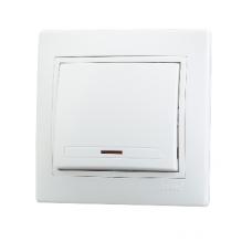 Выключатель 1-клавишный с подсветкой Lezard Mira белый 701-0202-111