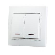 Выключатель 2-клавишный с подсветкой Lezard Mira белый 701-0202-112