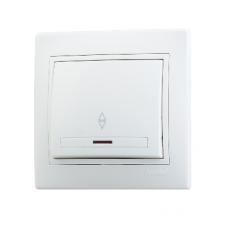 Выключатель 1-клавишный проходной с подсветкой Lezard Mira белый 701-0202-114