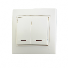 Выключатель 2-клавишный с подсветкой Lezard Mira крем 701-0303-112
