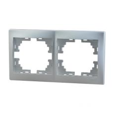Рамка 2-ая (147х82х8,5 мм) горизонтальная Lezard Mira алюминий 701-1000-147