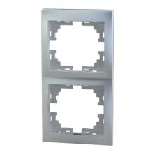 Рамка 2-ая (147х82х8,5 мм) вертикальная Lezard Mira алюминий 701-1000-152