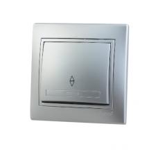 Выключатель 1-клавишный проходной Lezard Mira алюминий 701-1010-105