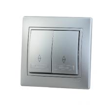 Выключатель 2-клавишный проходной Lezard Mira алюминий 701-1010-106