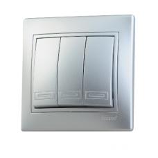 Выключатель 3-клавишный Lezard Mira алюминий 701-1010-109