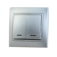 Выключатель 2-клавишный с подсветкой Lezard Mira алюминий 701-1010-112