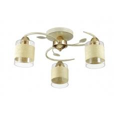 Люстра потолочная Lumion 3029/3C золото/беж/стекло/декор.тесьма E27 3*60W 220V FILLA