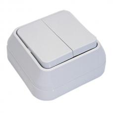 Выключатель накладной 2 клавиши Makel белый 45103