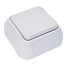 Выключатель накладной 1 клавиша проходной Makel белый 45105