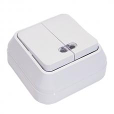 Выключатель накладной 2 клавиши с подсветкой Makel белый 45123