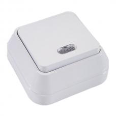 Выключатель накладной 1 клавиша проходной с подсветкой Makel белый 45125