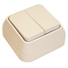 Выключатель накладной 2 клавиши Makel крем 45203
