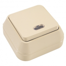 Выключатель накладной 1 клавиша с подсветкой Makel крем 45221