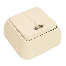 Выключатель накладной 2 клавиши с подсветкой Makel крем 45223