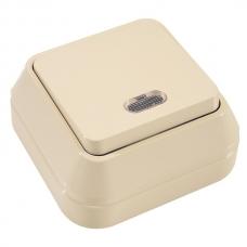 Выключатель накладной 1 клавиша проходной с подсветкой Makel крем 45225