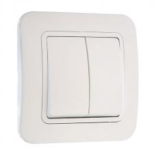 Выключатель 2-клавишный Makel Lilium белый 71003