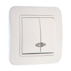 Выключатель 2-клавишный с подсветкой Makel Lilium белый 71023
