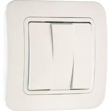 Выключатель 3-клавишный Makel Lilium белый 71091