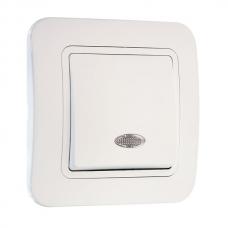 Выключатель 1-клавишный проходной с подсветкой Makel Lilium белый 71225