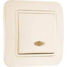 Выключатель 1-клавишный проходной с подсветкой Makel Lilium крем 71255