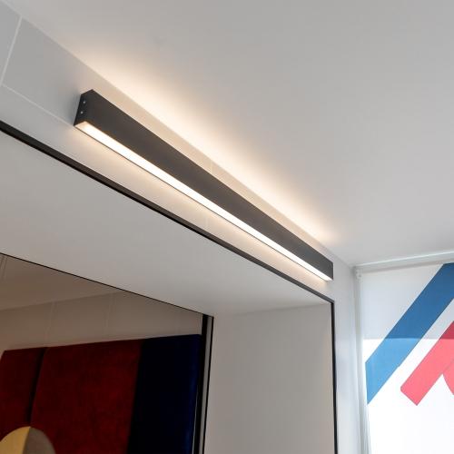 Линейный светодиодный накладной двусторонний светильник 103см 40Вт 3000К черная шагрень 101-100-40-103