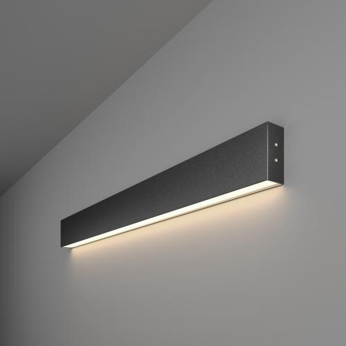 Линейный светодиодный накладной односторонний светильник 78см 15Вт 4200К черная шагрень 101-100-30-78