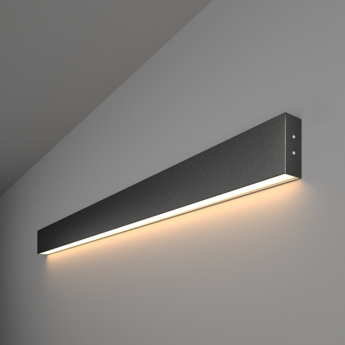 Линейный светодиодный накладной односторонний светильник 103см 20Вт 3000К черная шагрень 101-100-30-103