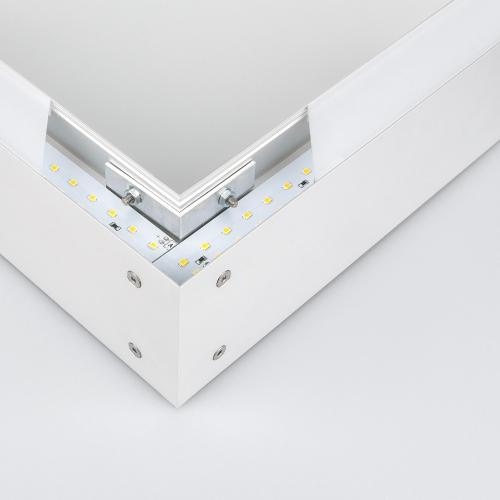 Линейный светодиодный накладной односторонний светильник 128см 25Вт 3000К матовое серебро 101-100-30-128