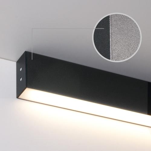 Линейный светодиодный накладной односторонний светильник 128см 25Вт 6500К черная шагрень 101-100-30-128