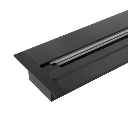 Встраиваемый однофазный шинопровод 2 метра черный (с вводом питания и заглушкой) TRLM-1-200-BK