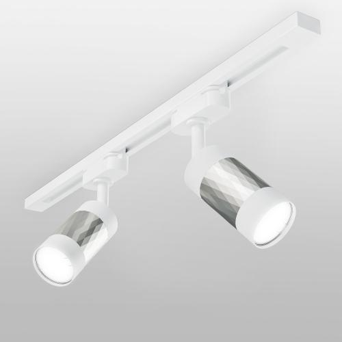 Трековый светильник для однофазного шинопровода Mizar GU10 Белый/серебро MRL 1007
