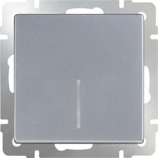 Выключатель одноклавишный проходной с подсветкой (серебряный) Werkel WL06-SW-1G-2W-LED