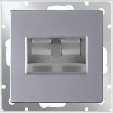 Розетка двойная Ethernet RJ-45 (серебряный) Werkel WL06-RJ45+RJ45