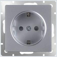 Розетка с заземлением (серебряный) Werkel WL06-SKG-01-IP20