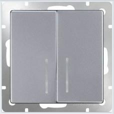Выключатель двухклавишный с подсветкой (серебряный) Werkel WL06-SW-2G-LED