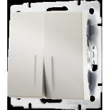 Выключатель двухклавишный с подсветкой (слоновая кость) Werkel WL03-SW-2G-LED-ivory