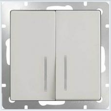 Выключатель двухклавишный с подсветкой (белый) Werkel WL01-SW-2G-LED