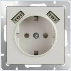 Розетка с заземлением, шторками и USBх2 (белая) Werkel WL01-SKGS-USBx2-IP20