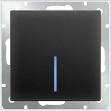 Выключатель одноклавишный с подсветкой (черный матовый) Werkel WL08-SW-1G-LED