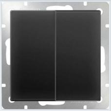 Выключатель двухклавишный проходной (черный матовый) Werkel WL08-SW-2G-2W